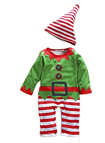 Toddler Boys Girls Striped Christmas Costume Romper Elf Photo Props Jumpsuit size 18-24 Months (Green) -