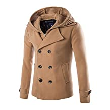 Mens Stylish Fashion Classic Wool Double Breasted Pea Coat with Removable Hood