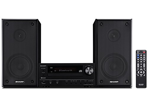 Sharp XLHF102B HI Fi Component MicroSystem with Bluetooth, USB Port for MP3 Playback, Built-in CD Player, AM/FM Tuners, 50W RMS, Remote Included, -