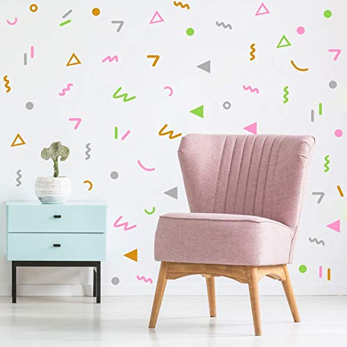 Colorful Geometric Wall Sticker Primary Vinyl Wall Decal Doodle Wall Stickers for Nursery Decoration(168 Pcs Multicolor Stickers)
