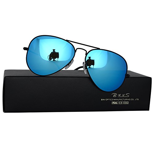 Bnus corning natural glass new pilot sunglasses italy made with polarized choices aviator (Frame: Matte Black / Lens: Blue Flash, - Blue Flash Aviators