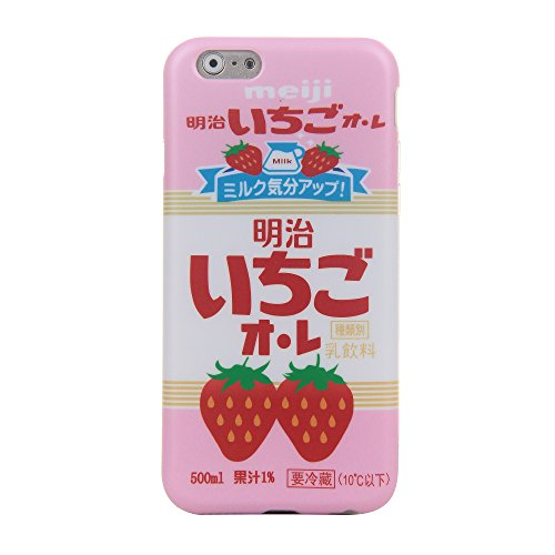 """Apple iPhone6 Case iPhone6s Back Cover Skin 4.7"""" Regular Size Slim Fit Soft Rubberized Smooth Surface Cute and Protective Lovely Pink Strawberry Milk Design for Girls Kids Teens Women"""