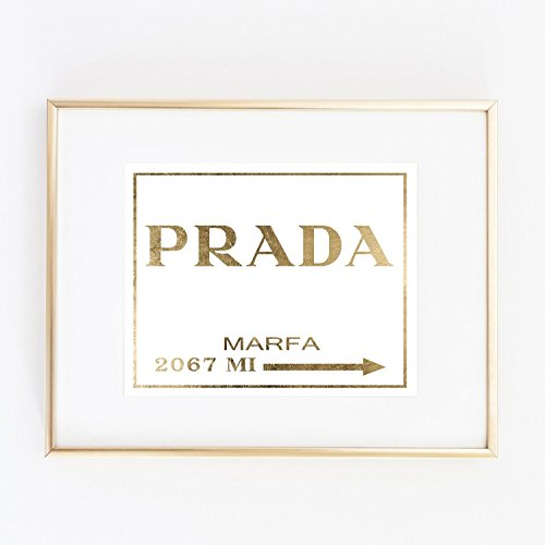 prada gold foil wall print