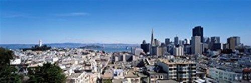 Posterazzi High angle view of a city Coit Tower Telegraph Hill Bay Bridge San Francisco California USA Poster Print (36 x 12)
