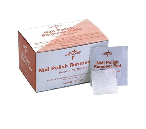 Remover Nail Polish Flammable - MEDLINE MDS090780 Nail Polish Remover Pads (Pack of 100)