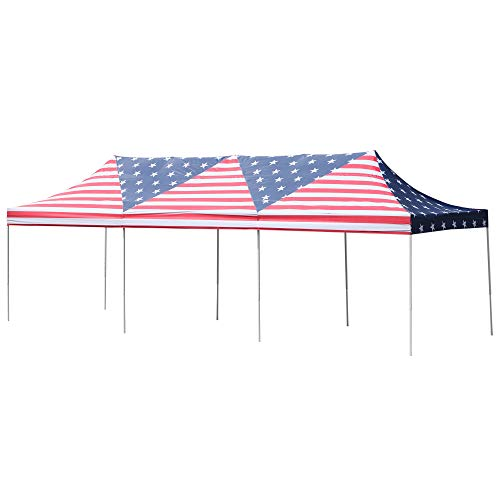 Outsunny 29 x 10 Pop Up Canopy Party Wedding Event Tent with Carrying Case – American Flag