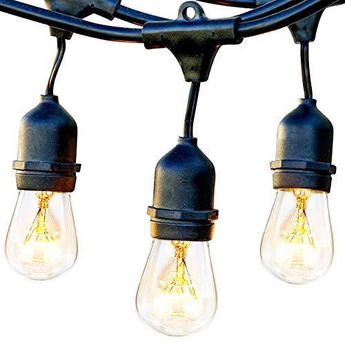 Brightech Ambience Pro - Waterproof Outdoor String Lights - Hanging Vintage 11W Edison Bulbs - 48 Ft Bistro Lights Create Great Ambience in Your Backyard, -