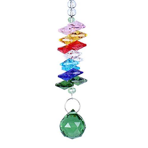 H&D Colorful Hanging Chandelier Crystals Ball Prisms Pendant Rainbow Octogon Chakra Suncatcher Fengshui Rearview Mirror Charm (green)