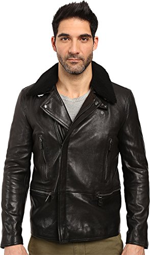 COACH Mens Leather Shearling Collar
