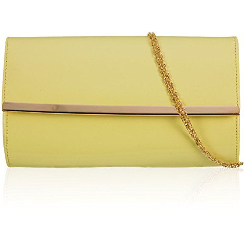 Xardi London New Patent Women Clutch Bag Bridal Designer Ladies Evening Party Handbag Prom UK Lemon