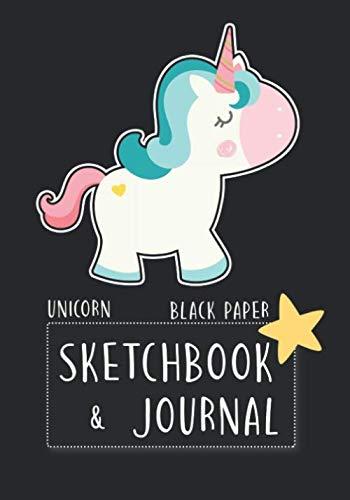 "Black Paper Sketchbook & Journal: Notebook Doodles Unicorn 7""x10"" For Drawing/Doodling with Gel Pens For Girls"