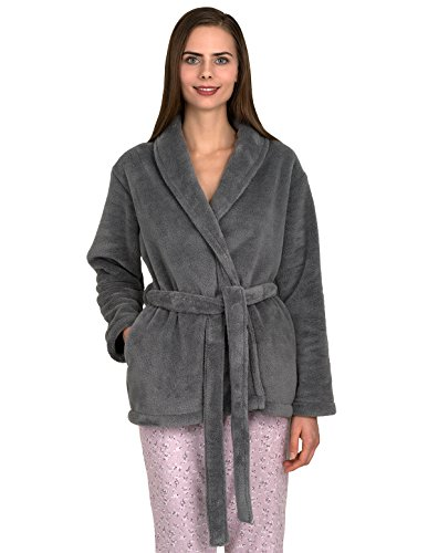 TowelSelections Women's Bed Jacket Fleece Cardigan Cuddly Robe Small/Medium Frost Gray