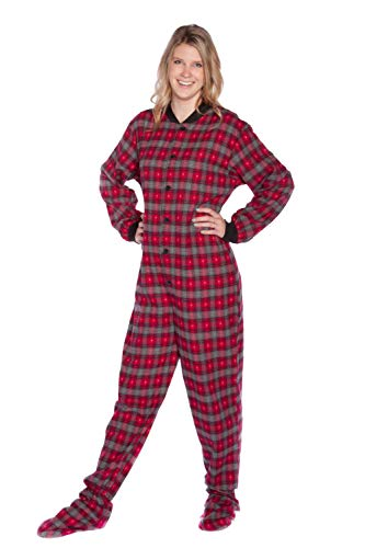 Red/Grey Plaid Flannel w/Hearts Adult Footed Pajamas w/Drop-Seat (XS) (Red Footed Pajamas For Adults With Drop Seat)