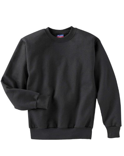 Champion Youth Long-Sleeve Spandex Crewneck T-Shirt, black, Medium by Champion