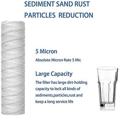 Tuneway 5 Micrometros de 10 X 2.5 Pulgadas Cartucho de Filtro Agua Sedimento Enrollado en Cadena Filtraci/óN de Sedimento Toda Casa Reemplazo Universal para Carcasa de RO de 10 Pulgadas