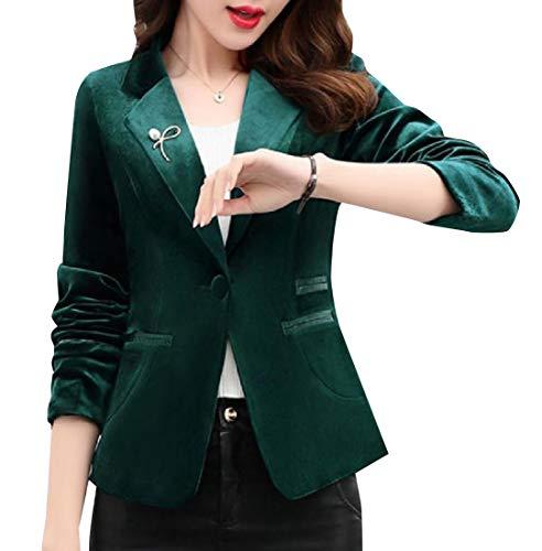 Abetteric Women Regular Fit One Button Velour Velvet Formal Suit Coat Blackish Green - Blazer Velour