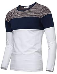 Men's Contrast Color Crew Neck Casual T-Shirt Top