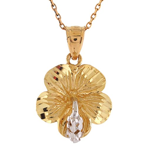 14k Two-Tone Gold Gorgeous Diamond Cut Habiscus Flower (Habiscus Flower)