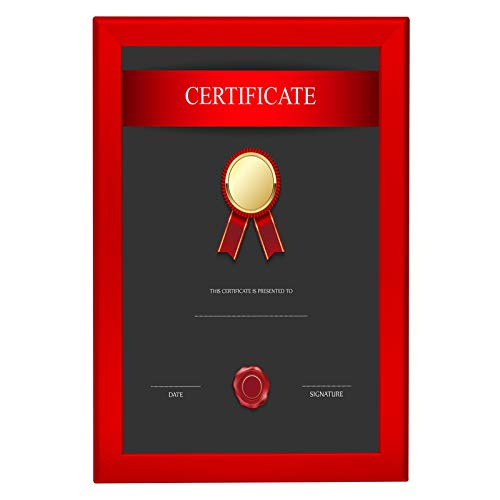 Blue Frame Prince (SnapeZo Notice Frame 11x17 Inches, Red 1.25 Inch Aluminum Profile, Front-Loading Snap Frame, Wall Mounting, Professional Series)