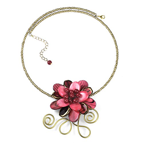 Floral Vine Paradise Red Mother of Pearl and Glass Choker-Necklace ()