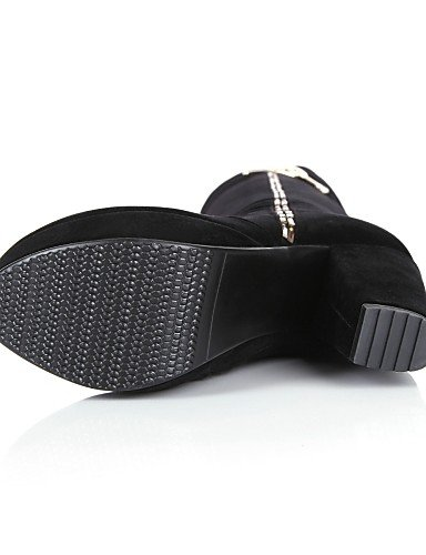 Punta Plataforma us8 Zapatos Tacón Xzz Redonda Casual La Eu39 Moda Uk6 Cn39 Robusto Vestido De Vellón Negro Mujer A Botas Black tXdYxYqTw
