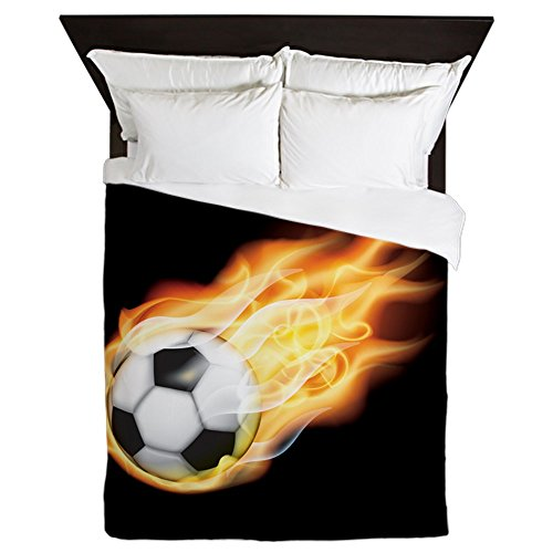 CafePress - Fiery Soccer Ball - Queen Duvet Cover, Printed Comforter Cover, Unique Bedding, Microfiber by CafePress