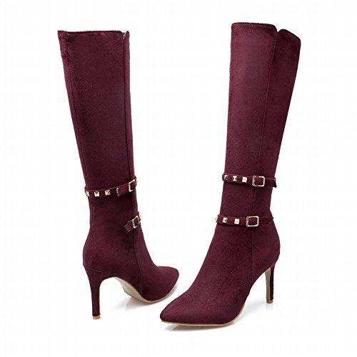 Women's Long Fashion Sexy Heel Zip High Red Boots Rivets Carolbar Stiletto Cqfxndwf