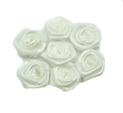HAND Hand Made Small Ribbon Rose Flower Sew On Trims 15 mm, Embellishments Pack of 50 White by HAND