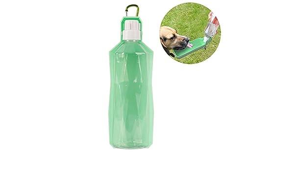 DUBENS perro gato botella de agua, portátil Pet dispensador de agua, gato perro Trinkflasche Agua botellas Viaje, mascotas de plástico con cuenco Dispenser ...