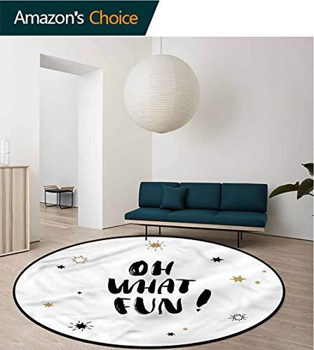 RUGSMAT Inspirational Computer Chair Floor Mat,Oh What Fun Design Living Dinning Room & Bedroom Rugs Diameter-47