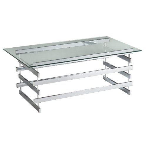 Southern Enterprises Haussmann Chrome and Glass Coffee/Cocktail Table