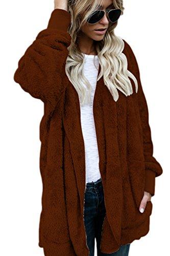 Veste Manteau Furry Open Brun Outwear Front Femmes Cardigan Capuche Hooded Blousons waRqn1CYxS