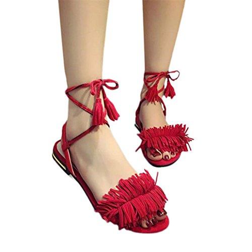Gland Mode Femmes Talon Plage EU Anti Culater® Chaussures Sandales Rouge 38 Plat Pantoufle Dérapage Vert 5EqdZxn