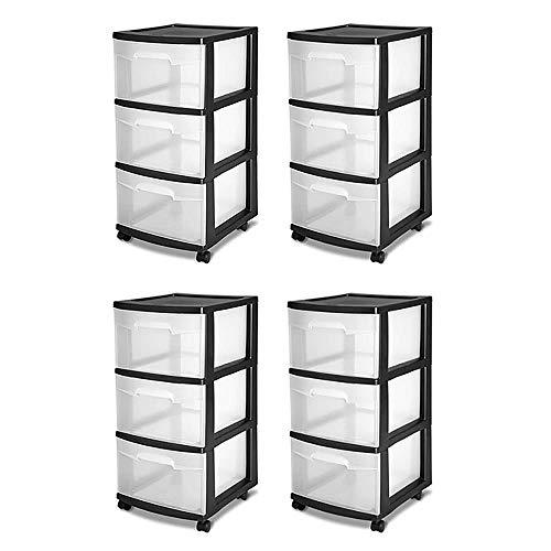 STERILITE 3-Drawer Storage Cart, Clear with Black Frame (4-Pack) | 4 x 28309002 (Sterilite 3 Drawer Cart Black)