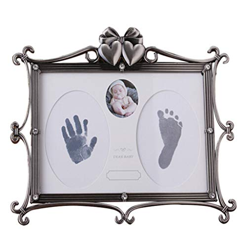 If maple furniture Baby Hand Print Kit and Footprint Frame Newborn Baby Bath Baptism Birthday Silver Charm, Safe and Easy to use Great Baby Decoration Gift
