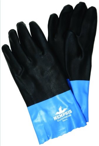 MCR Safety 6962L Duoprene Supported Neoprene/Cotton Sandy Finish Interlock Lined Gloves with 12-Inch Gauntlet, Black/Blue, Large, 1-Pair