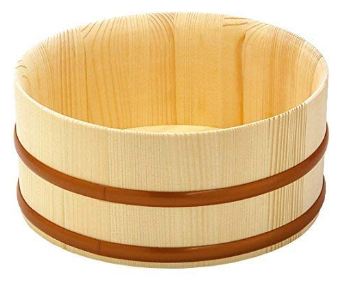 Yamako Natural Wood Made Japanese Bath Bucket Thin Top Type 83827 (Bath Wood Bucket)