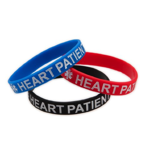 Adult Heart Patient Silicone Wristbands - Lot of 3