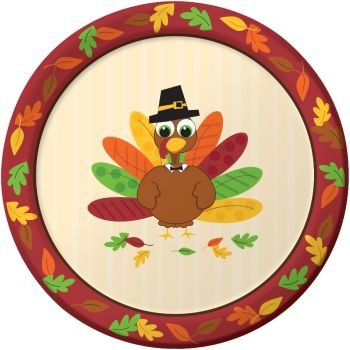 Thanksgiving Turkey Fun 9-inch Paper Plates 8 Per Pack  sc 1 st  Amazon.com : turkey paper plates - pezcame.com