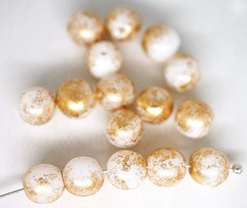 - 40pcs Polychrome Chameleon Gold Rain Spotted Round Druk Spacer Seed Czech Glass Beads 6mm