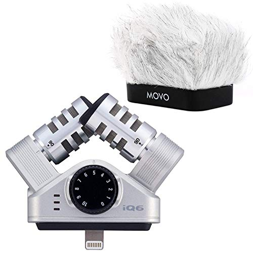 Zoom iQ6 X/Y Stereo Microphone Microphone for iOS with Movo Microphone Windscreen