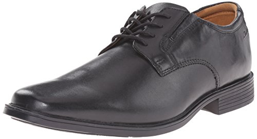 CLARKS Men's Tilden Plain Oxford, Black Leather, 11 Wide US