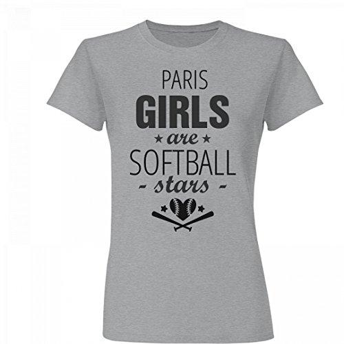 Paris Girls Are Softball Stars: Basic Junior Fit Fine Jersey T-Shirt De Paris Pitcher