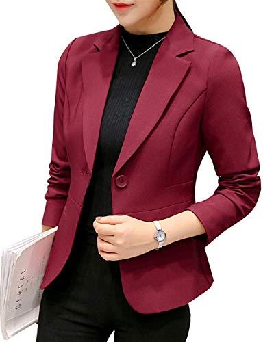 Outwear Suit Burgunderrot Confortevole Lunga Autunno Giacca Tailleur Fit Manica Slim Button Leisure Giubotto Donna Colore Da Formale Bavero Puro wHqwdTp