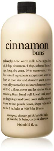 Philosophy Shampoo Shower Gel & Bubble Bath,Cinnamon Buns, 32 Ounce