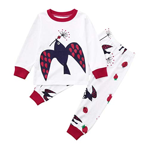 Pajamas Sets for 1-5 Y Little Kids,Jchen(TM) Toddler Infant Baby Kids Boy Girl Long Sleeve Bird Print Tops Pants Sleepwear Home Wear Outfits 2Pcs Set Clothes (Age: 3-4 Years Old) by Jchen Baby Sets