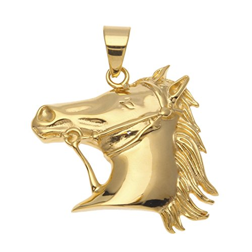 Gnzoe Mens Hip Hop Stainless Steel Horse Head Pendant Necklace Gold Plated 5mm Cuban Chain 28''