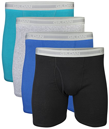 Gildan Men's Regular Leg Boxer Brief 4 Pack, XX-Large, Mixed Blue/Grey by Gildan