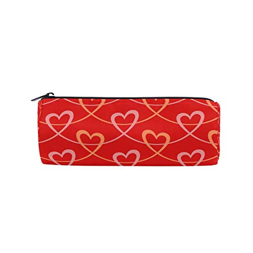 TropicalLife Valentine's Day Red Heart Pencil Case with Zipper Pen Pouch Makeup Bag for School Office - Personalized Heart Shaped Pen