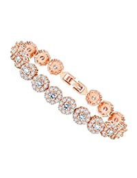 9cfcb06bffb LOYALLOOK Rose Gold Bracelet Classic Luxury Tennis Bracelet with Cubic  Zirconia Stones for Women Girls with